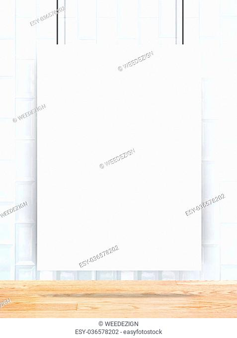 Hanging paper poster frame at ceramic tiles wall and wooden plank floor,Mock up for add your content,business presentation template