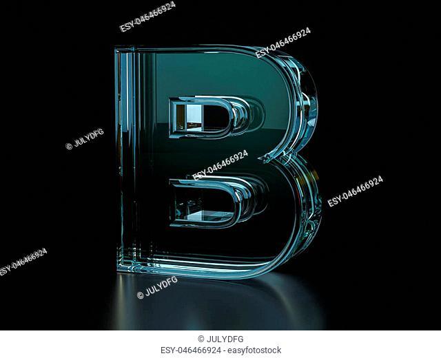 Glass letter B on a black background. 3D illustration