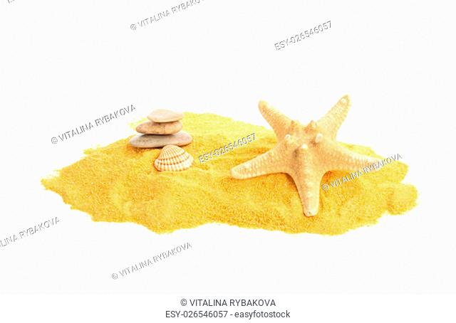 Shells and pebbles on yellow sand. Isolated on white