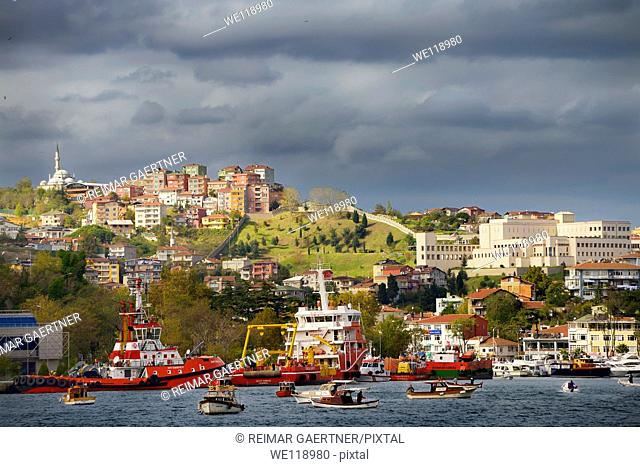 Istinye Harbour with coastal safety ships and American Consulate on the Bosphorus Strait Istanbul Turkey