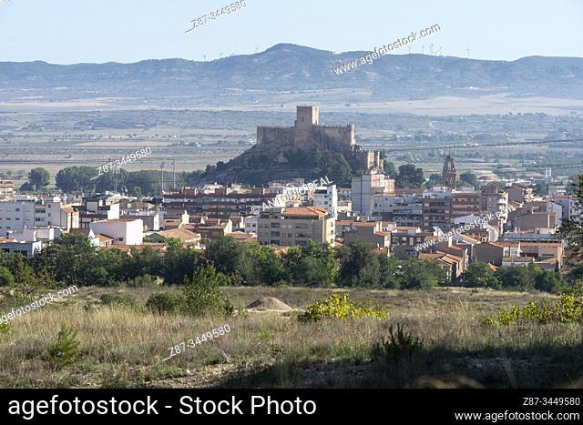 Almansa and the Castle. Almansa, Albacete Province, Spain