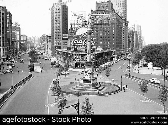 Columbus Circle looking north, Broadway on left, Central Park West on right, New York City, New York, USA, Angelo Rizzuto, August 1952