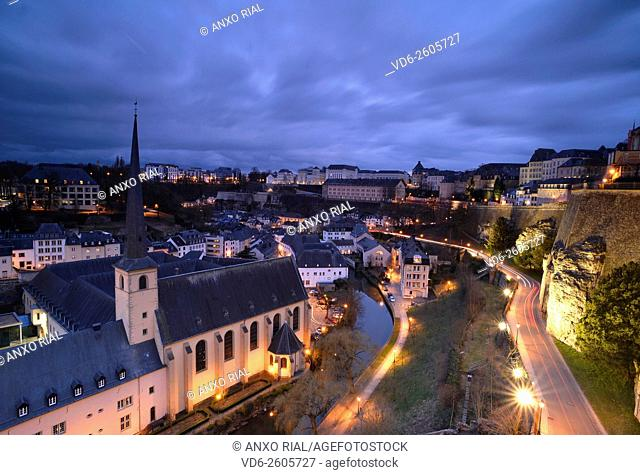 Grand Duchy of Luxembourg. Luxembourg city (World Heritage). Grund district. Neumunster Abbey with the Alzette River