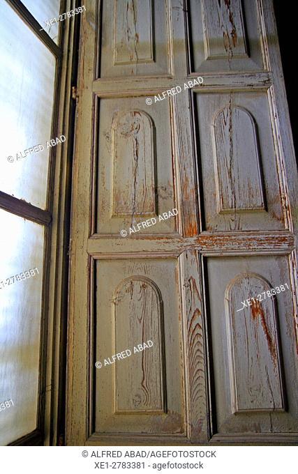 Shutter and window, Dalmases House, Cervera, Lleida province, Catalonia, Spain