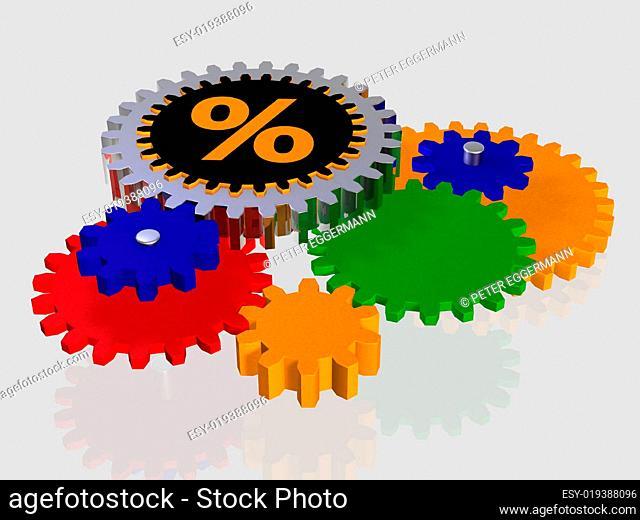 Prozentzeichen - Zahnrad - isoliert