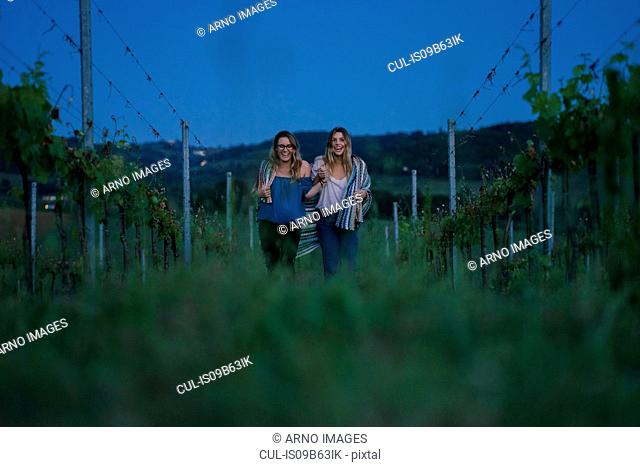 Tourists in vineyard, Tuscany, Italy