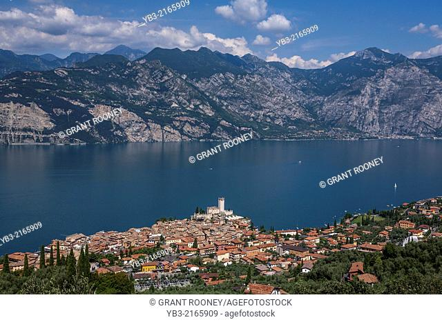 A View of The Town of Malcesine, Lake Garda, Veneto, Italy