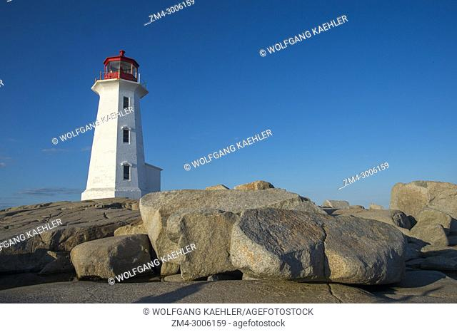 Lighthouse at Peggy's Cove near Halifax, Nova Scotia, Canada, in evening light