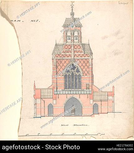 West Elevation of an Unidentified Church, 19th century. Creator: William Butterfield