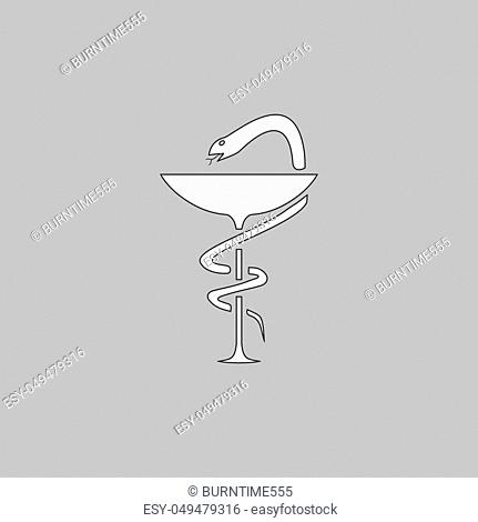 Pharmacy Simple line vector button. Thin line illustration icon. White outline symbol on grey background
