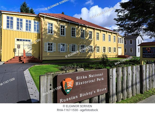 Russian Bishop's House, built 1843 in Sitka spruce, Sitka National Historical Park sign, rare sunny day, Southeast Alaska, United States of America