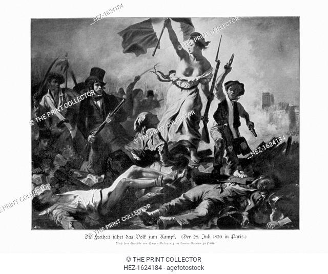'Liberty Leading the People' 28th July 1830 (1900). Delacroix's famous depiction of the events of the July Revolution in Paris in 1830 that led to the...