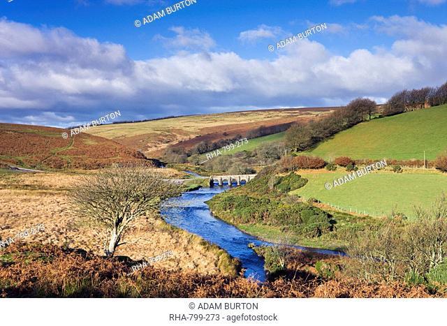 Landacre Bridge spanning the River Barle near Withypool, Exmoor National Park, Somerset, England, United Kingdom, Europe
