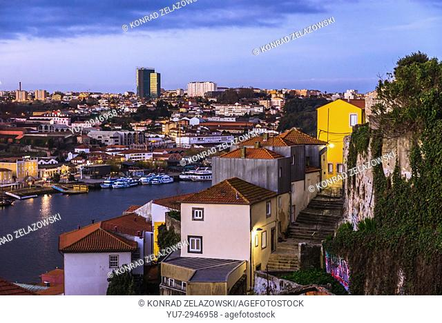 Aerial view on the old part of Porto city on Iberian Peninsula, second largest city in Portugal. Vila Nova de Gaia on background