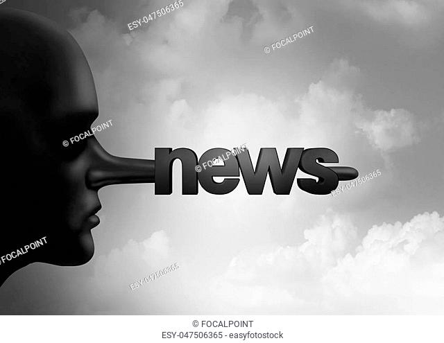 Fake news concept and hoax journalistic reporting as a person with a long liar nose shaped as text as false media reporting metaphor and fraudulent deceptive...
