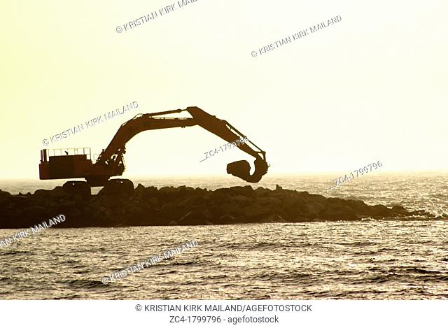 Excavator working at the coast