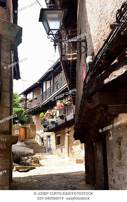 typical houses of the medieval village of La Alberca,Salamanca province, Castilla y Leon, Spain