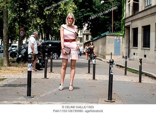 Blogger Sofie Valkiers arriving on the street before the Dior runway show during Haute Couture Fashion Week in Paris - July 2