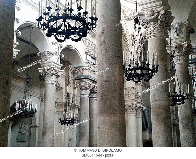 Lecce, Italy, inside the church of the S. Croce