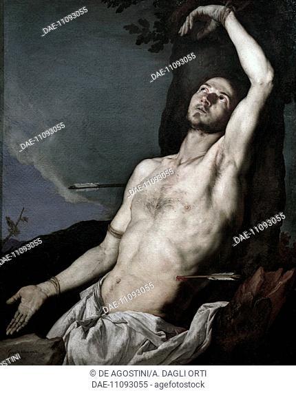 St Sebastian, 1651, by Jusepe de Ribera known as Spagnoletto (ca 1591-1652), oil on canvas.  Naples, Museo Nazionale Di Capodimonte (Art Gallery)