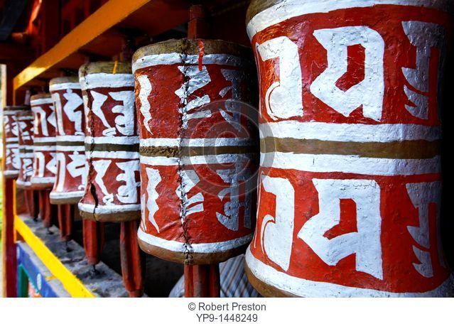 India - Sikkim - the Buddhist Labrang Monastery - prayer wheels