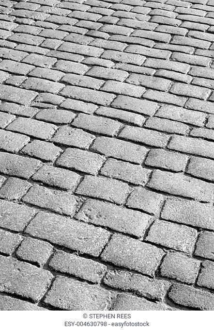 Old English cobblestone road close up