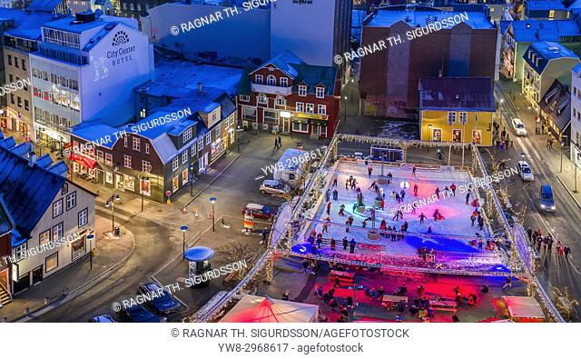 Ice Skating Rink, Winter, Reykjavik, Iceland. This image is shot using a drone
