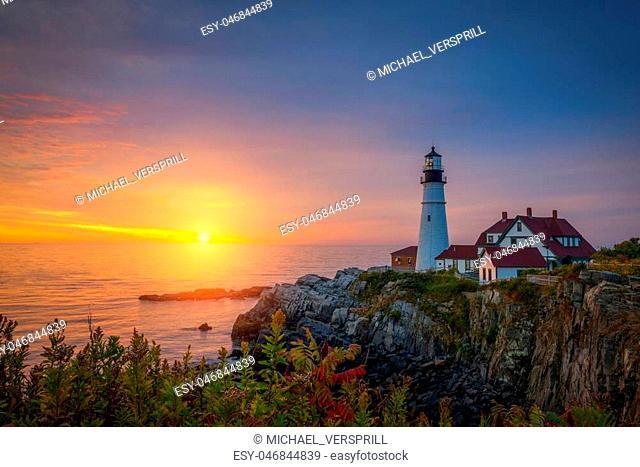 Beautiful sunrise at Portland Head Light in Fort Williams Park