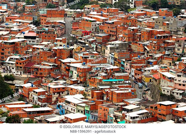 Simple houses or ranchos of Caracas, Venezuela as seen from El Avila