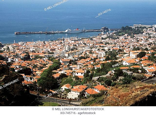 Panoramic view of Funchal from Monte cable car, Funchal, Madeira