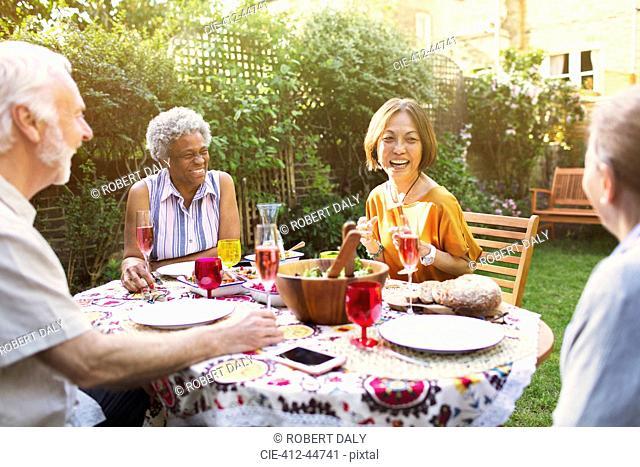 Active senior friends enjoying garden party