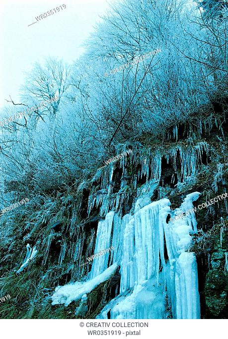 frozen waterfall on a mountainside