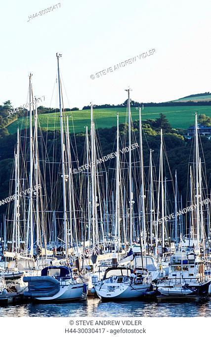 England, Devon, Dartmouth, Kingswear, Yachts at Anchor