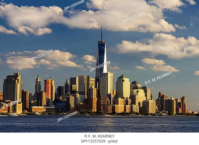 World Trade Center and Lower Manhattan at sunset as viewed from Hoboken, New Jersey; New York City, New York, United States of America