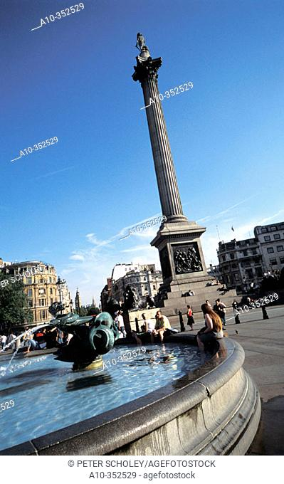 Lord Nelson's Column at Trafalgar Square. London. England