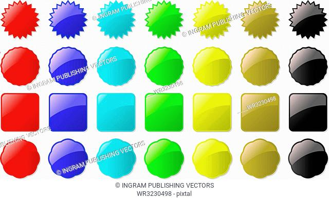 Illustration of seven colored buttons all part of a set ready for your own text