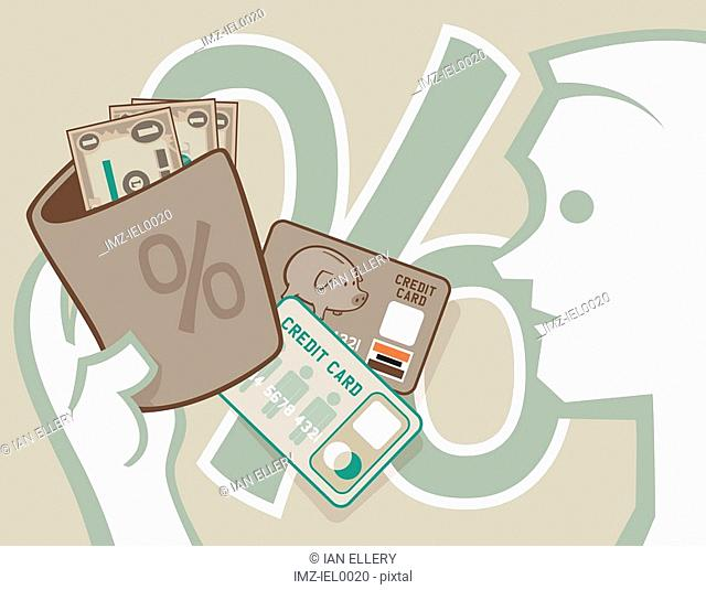 A graphical illustration of a mile figure opening his wallet to dollar bills and credit cards with a large percentage symbol in the background