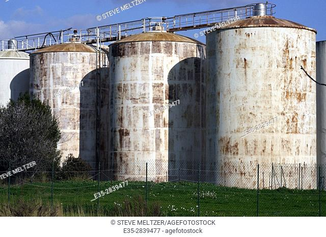 Huge wine storage tanks at a cooperative winery