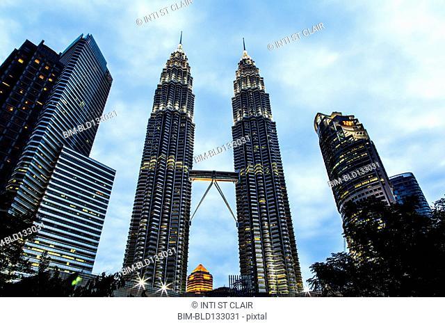 Petronas Twin Towers in Kuala Lumpur skyline, Federal Territory of Kuala Lumpur, Malaysia