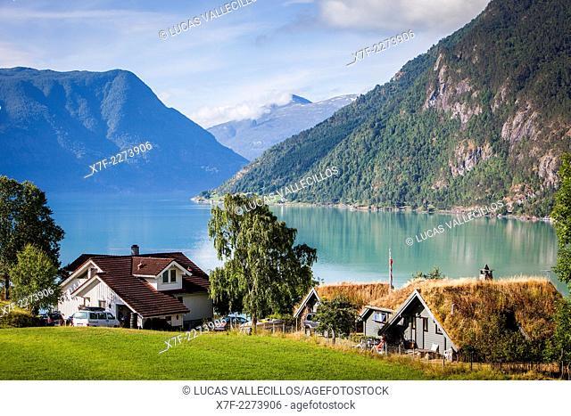 Lustrafjord fjord, branch of the Sognefjord fjord, Sogn of Fjordane, Norway, Europe