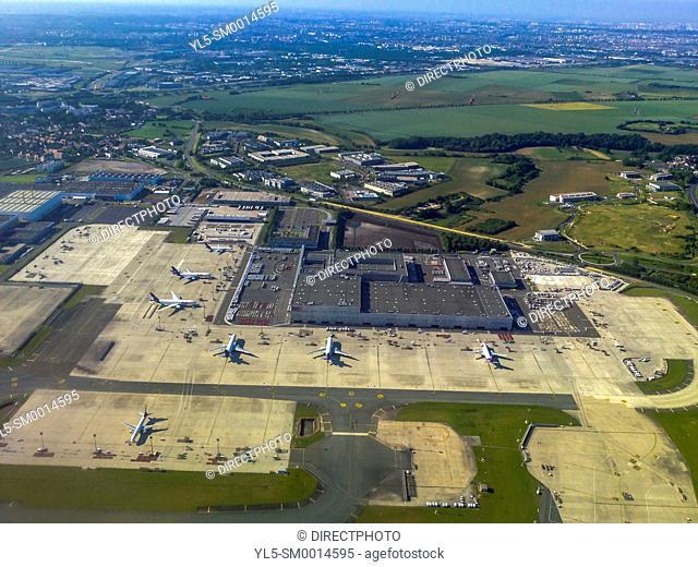Dusseldorf, Germany, Aerial View, International Airport, from Airplane
