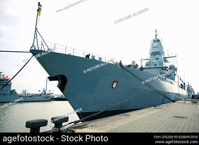 """08 February 2020, Lower Saxony, Wilhelmshaven: The frigate """"""""Hamburg"""""""" has returned to her home port to the naval base Wilhelmshaven after her deployment in the..."""