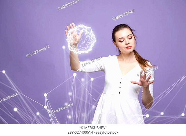 Woman with glowing magical energy ball on purple background
