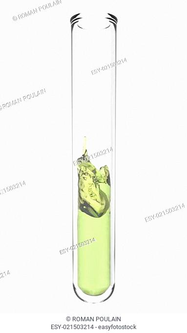 test tube with wavy green yellow liquid inside