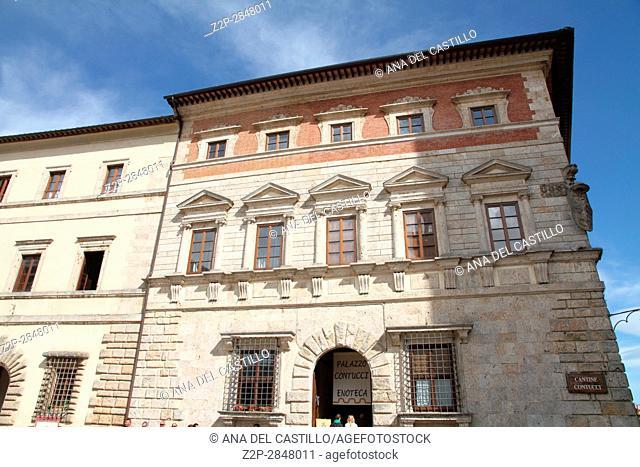 Palazzo Contucci at Piazza Grande at the top of Montepulciano, Tuscany, Italy