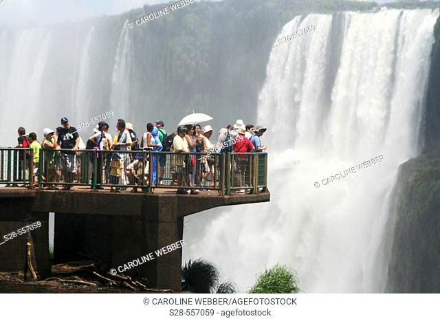 Tourists at Iguazu Falls, Brazil