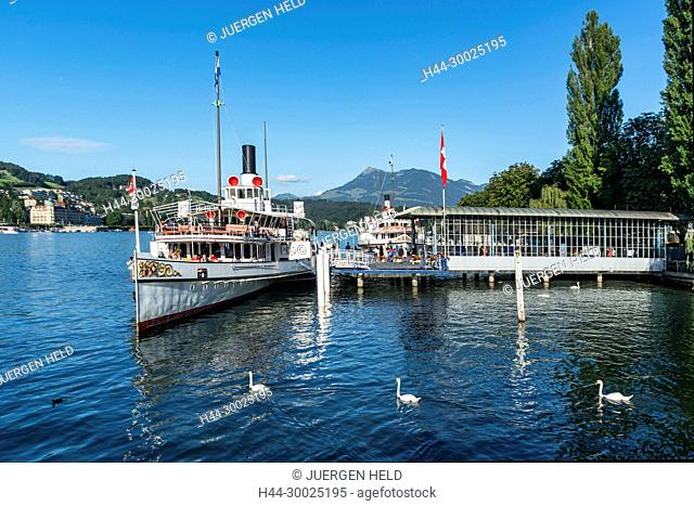 Steam boat at lake Lucerne, Vierwaldstaetter See, Switzerland