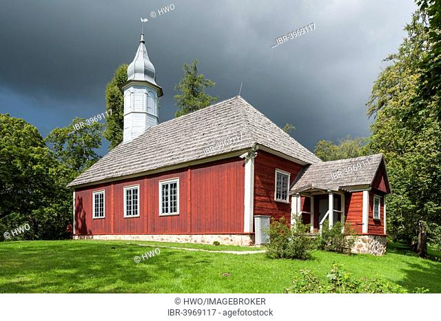 Historic wooden church, 1750, protestant church, on church hill, memorial for the Rose of Turaida, Sigulda or Segewold, Turaida, Krimulda District, Latvia