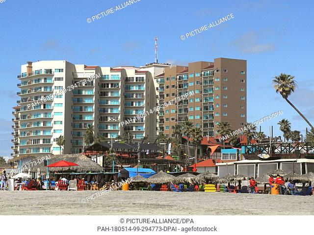 FILED - 15 March 2018, Mexico, Rosarito: There is not much going on during low season at the beach of Rosarito at the hotel Los Pelicanos Rosarito Beach