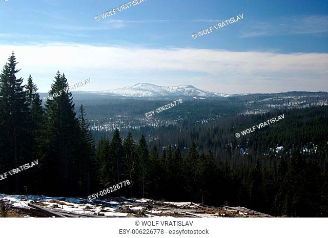 View of Luzny Mountain, Sumava National Park, the Southwestern Bohemia, Czech Republic